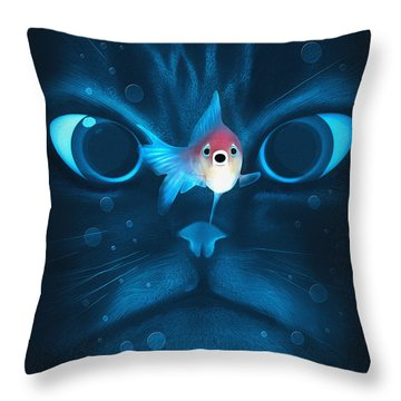 Cat Fish Throw Pillow