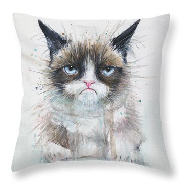 Grumpy Cat Watercolor Painting  Throw Pillow