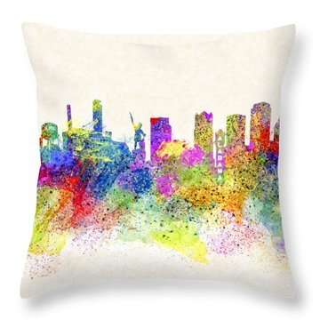 Birmingham Alabama Skyline Art Throw Pillow