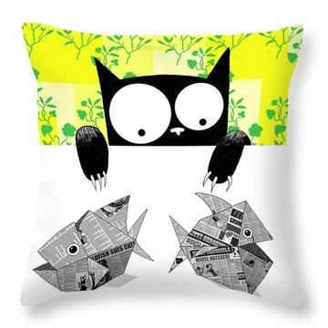 Origami Fish Throw Pillow
