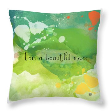 Throw Pillow featuring the painting I Am A Beautiful Mess by Lisa Weedn