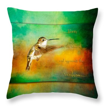 Hummingbird Hover Throw Pillow