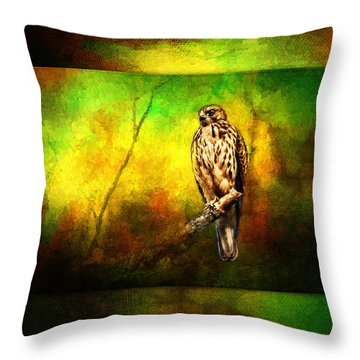 Hawk On Branch Throw Pillow