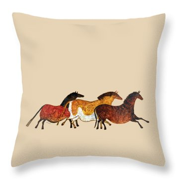 Cave Horses In Beige Throw Pillow
