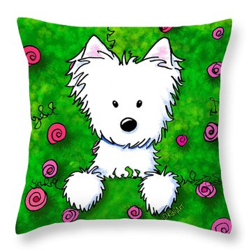 Westie In Roses Throw Pillow