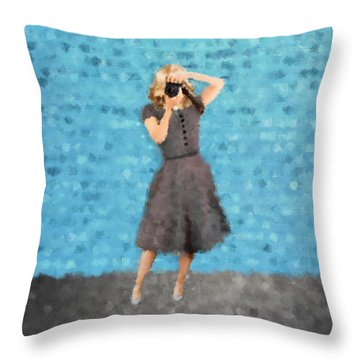 Throw Pillow featuring the digital art Natalie by Nancy Levan