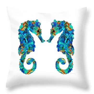 Blue Seahorse Art By Sharon Cummings Throw Pillow by Sharon Cummings