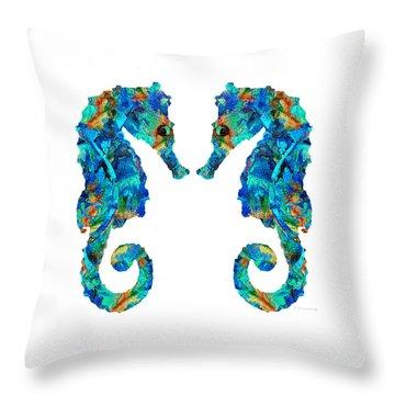 Blue Seahorse Art By Sharon Cummings Throw Pillow