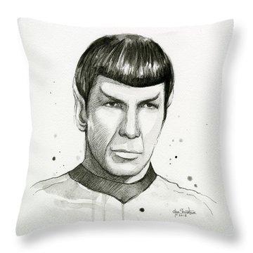 Spock Watercolor Portrait Throw Pillow