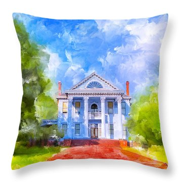 Throw Pillow featuring the mixed media Gracious Living - Classic Southern Home by Mark E Tisdale