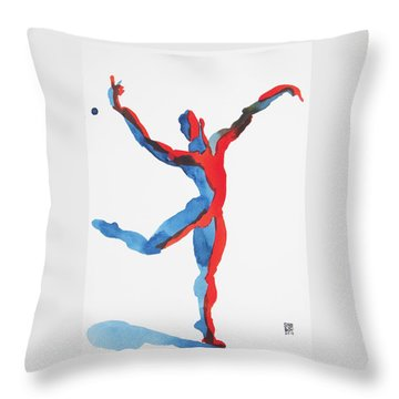 Ballet Dancer 3 Gesturing Throw Pillow by Shungaboy X