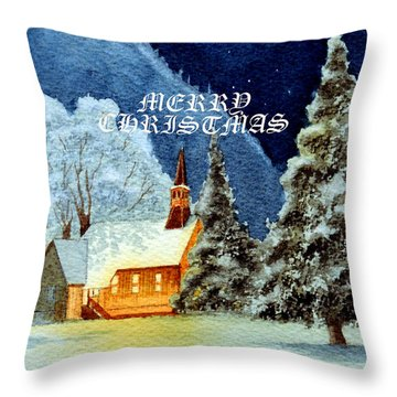 Merry Christmas Card Yosemite Valley Chapel Throw Pillow by Bill Holkham