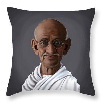 Celebrity Sunday - Mahatma Gandhi Throw Pillow