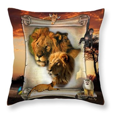 The Lion King From Africa Throw Pillow by Nadine May