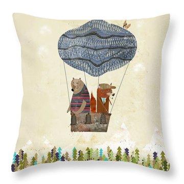 Mr Fox And Bears Adventure  Throw Pillow