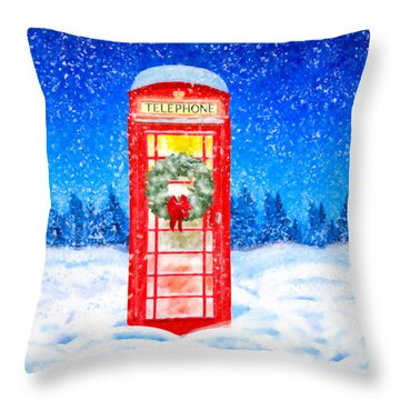 Throw Pillow featuring the mixed media Still Night - A British Christmas by Mark Tisdale
