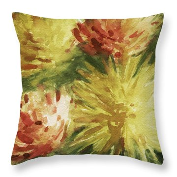 Cremon Mums Throw Pillow by Beverly Brown