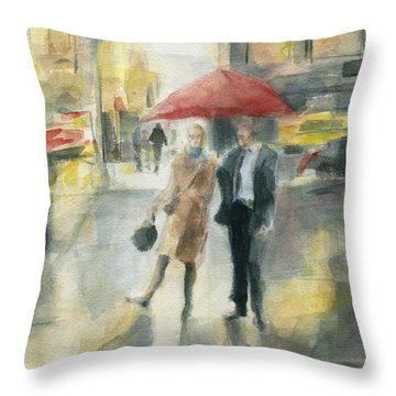 Red Umbrella New York City Throw Pillow