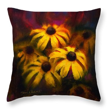 Throw Pillow featuring the painting Black Eyed Susans - Vibrant Flowers by Karen Whitworth