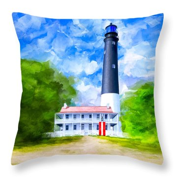 Throw Pillow featuring the mixed media Historic Pensacola Light by Mark Tisdale