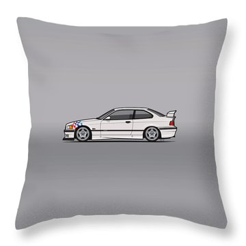 Bmw 3 Series E36 M3 Coupe Lightweight White With Checkered Flag Throw Pillow