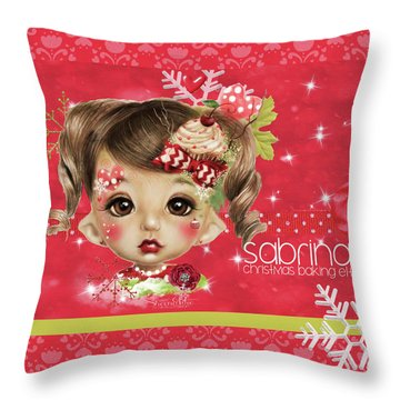 Throw Pillow featuring the mixed media Sabrina - Elf  by Sheena Pike