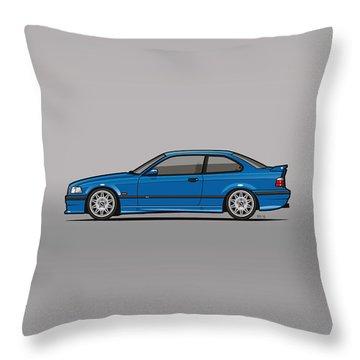 Bmw 3 Series E36 M3 Coupe Estoril Blue Throw Pillow