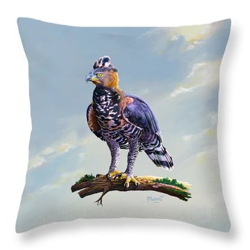 African Crowned Eagle  Throw Pillow
