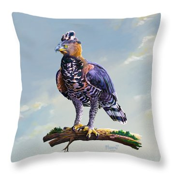 African Crowned Eagle  Throw Pillow by Anthony Mwangi