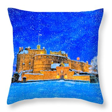 Snow Falling On Edinburgh Castle Throw Pillow