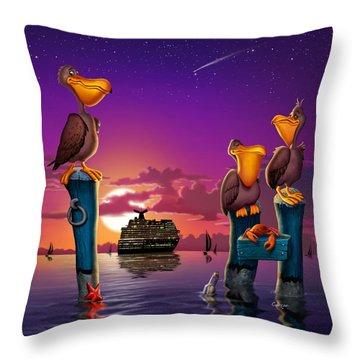Pelican Sunset Whimsical Cartoon Tropical Birds Florida Seascape - Square Format Throw Pillow