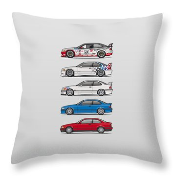 Stack Of Bmw 3 Series E36 Coupes Throw Pillow