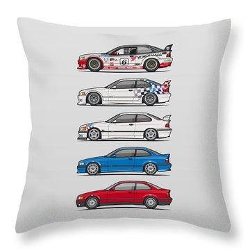 Classic Car Renderings Digital Art Throw Pillows