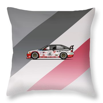 Bmw 3 Series E36 M3 Gts-2 Ptg Race Car Throw Pillow