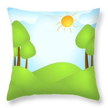 Playful Kid's Spring Backdrop Throw Pillow