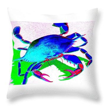 Cyan Crab Throw Pillow