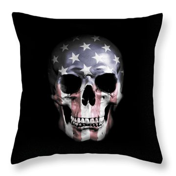 American Skull Throw Pillow by Nicklas Gustafsson