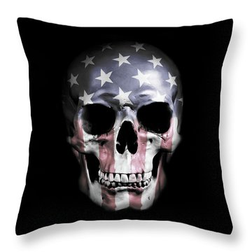 American Skull Throw Pillow