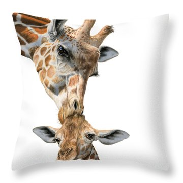 Mother And Baby Giraffe Throw Pillow by Sarah Batalka