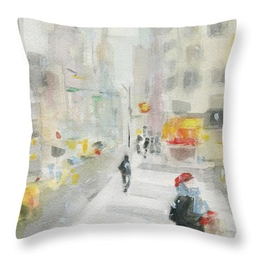 New York Winter 57th Street Throw Pillow by Beverly Brown