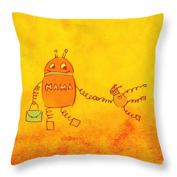 Robomama Throw Pillow