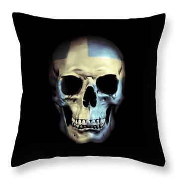 Throw Pillow featuring the digital art Swedish Skull by Nicklas Gustafsson