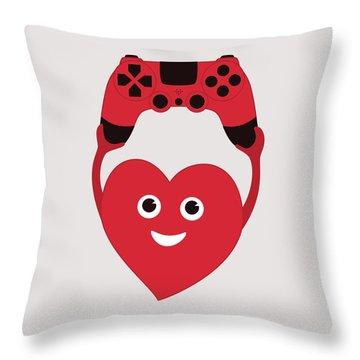 Gamer Heart Throw Pillow