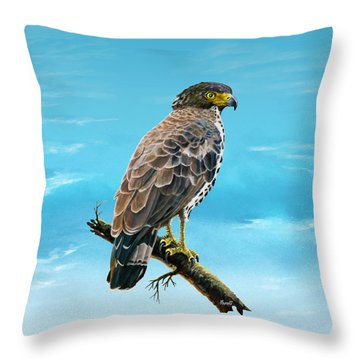 Congo Serpent Eagle Throw Pillow by Anthony Mwangi