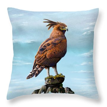 Long Crested Eagle Throw Pillow by Anthony Mwangi