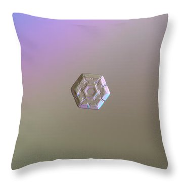 Throw Pillow featuring the photograph Snowflake Photo - Frozen Hearts by Alexey Kljatov