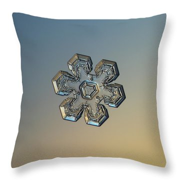Throw Pillow featuring the photograph Snowflake Photo - Massive Gold by Alexey Kljatov