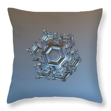 Throw Pillow featuring the photograph Snowflake Photo - Cold Metal by Alexey Kljatov