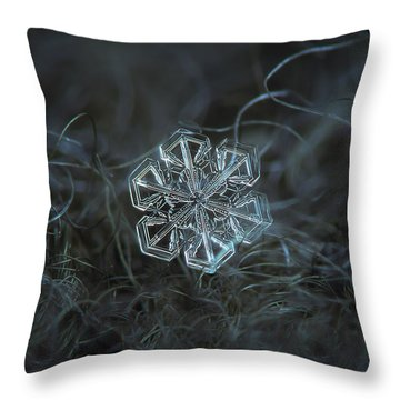 Throw Pillow featuring the photograph Snowflake Photo - Alcor by Alexey Kljatov