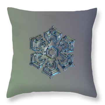Snowflake Photo - Silver Foil Throw Pillow